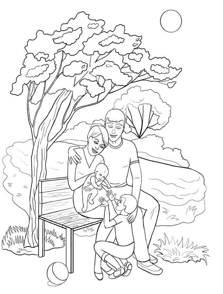 Раскраски картинки мамы гуляют со своим ребенком парке