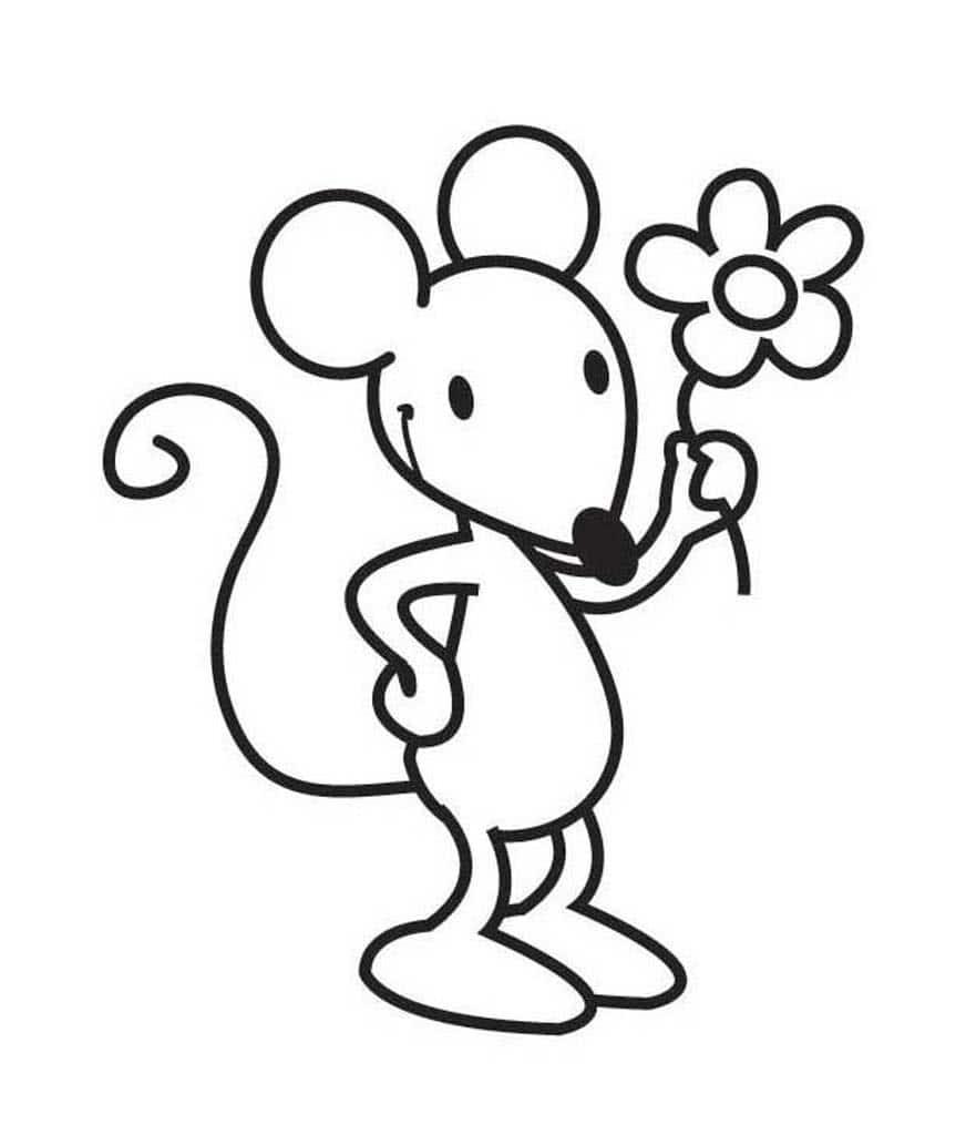 Мышь картинка черно белая для детей