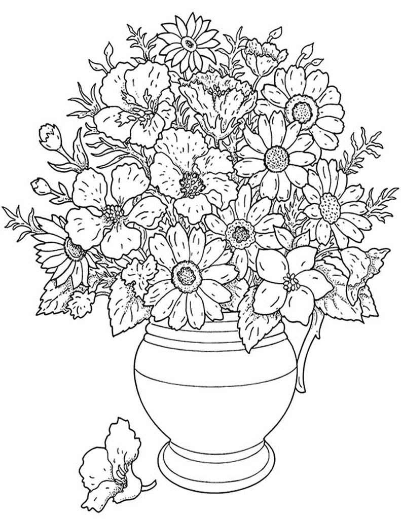 Цветы на открытку раскраски