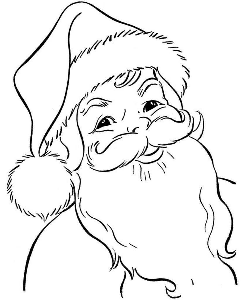 Дед мороз картинки для раскрашивания лицо ножницы